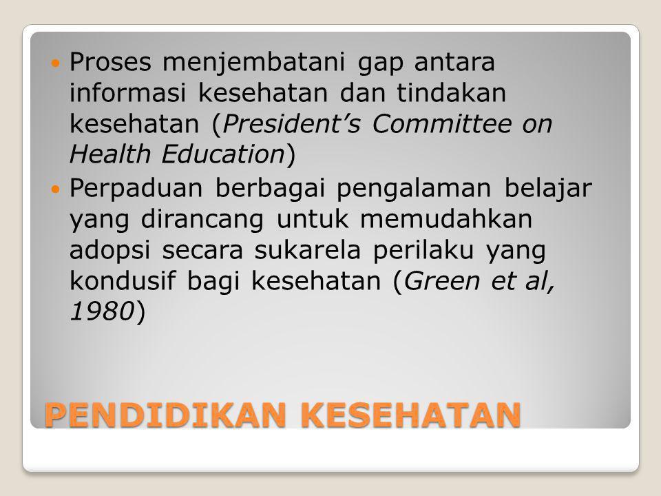 PENDIDIKAN KESEHATAN Proses menjembatani gap antara informasi kesehatan dan tindakan kesehatan (President's Committee on Health Education) Perpaduan berbagai pengalaman belajar yang dirancang untuk memudahkan adopsi secara sukarela perilaku yang kondusif bagi kesehatan (Green et al, 1980)