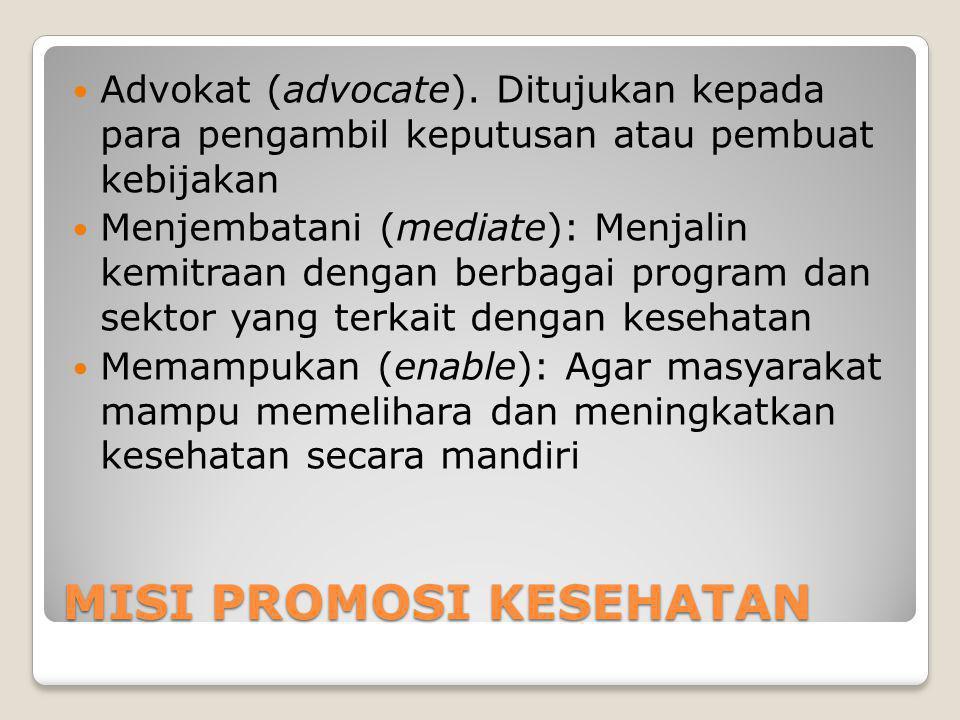 MISI PROMOSI KESEHATAN Advokat (advocate).