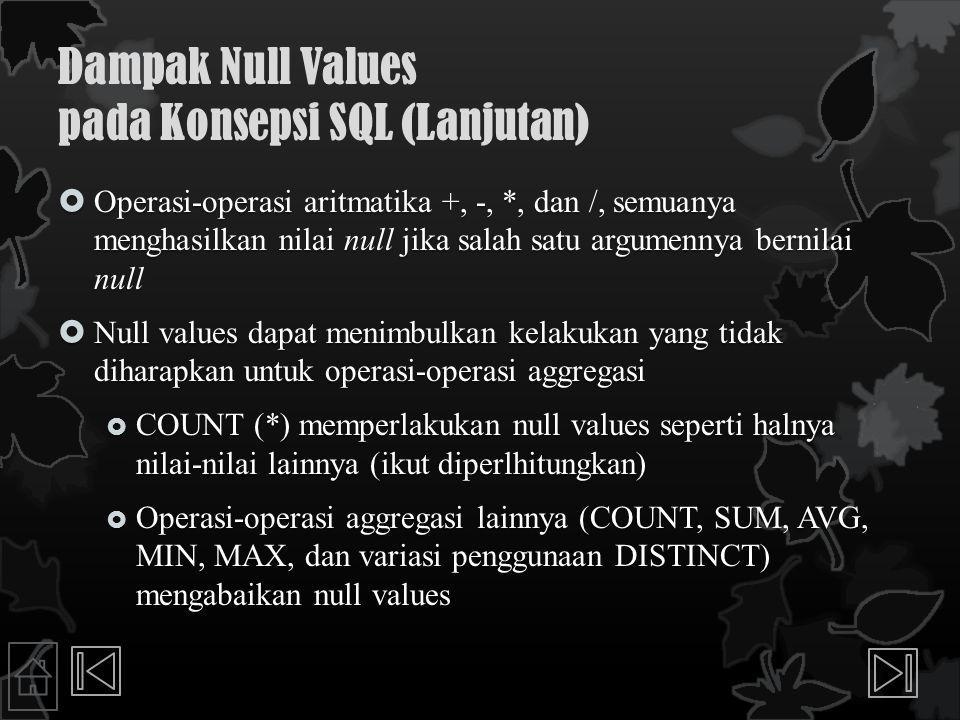 Dampak Null Values pada Konsepsi SQL (Lanjutan)  Operasi-operasi aritmatika +, -, *, dan /, semuanya menghasilkan nilai null jika salah satu argumennya bernilai null  Null values dapat menimbulkan kelakukan yang tidak diharapkan untuk operasi-operasi aggregasi  COUNT (*) memperlakukan null values seperti halnya nilai-nilai lainnya (ikut diperlhitungkan)  Operasi-operasi aggregasi lainnya (COUNT, SUM, AVG, MIN, MAX, dan variasi penggunaan DISTINCT) mengabaikan null values