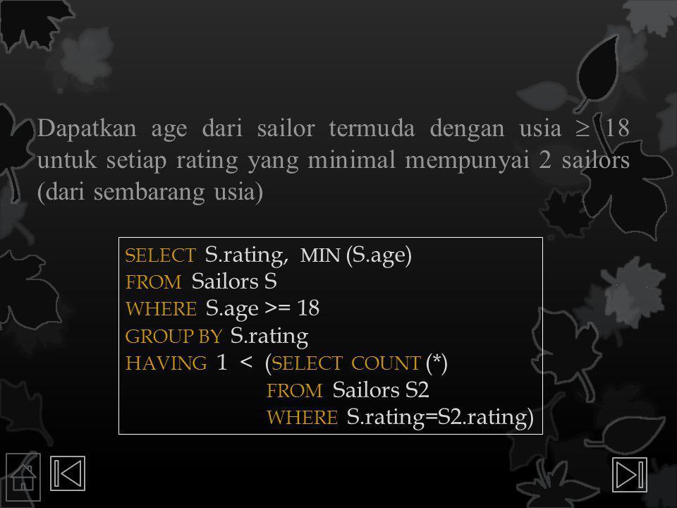 Dapatkan age dari sailor termuda dengan usia  18 untuk setiap rating yang minimal mempunyai 2 sailors (dari sembarang usia) SELECT S.rating, MIN (S.age) FROM Sailors S WHERE S.age >= 18 GROUP BY S.rating HAVING 1 < ( SELECT COUNT (*) FROM Sailors S2 WHERE S.rating=S2.rating)