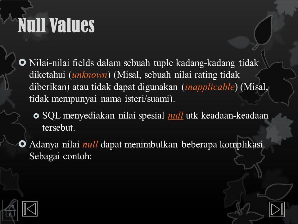 Null Values  Nilai-nilai fields dalam sebuah tuple kadang-kadang tidak diketahui (unknown) (Misal, sebuah nilai rating tidak diberikan) atau tidak dapat digunakan (inapplicable) (Misal, tidak mempunyai nama isteri/suami).