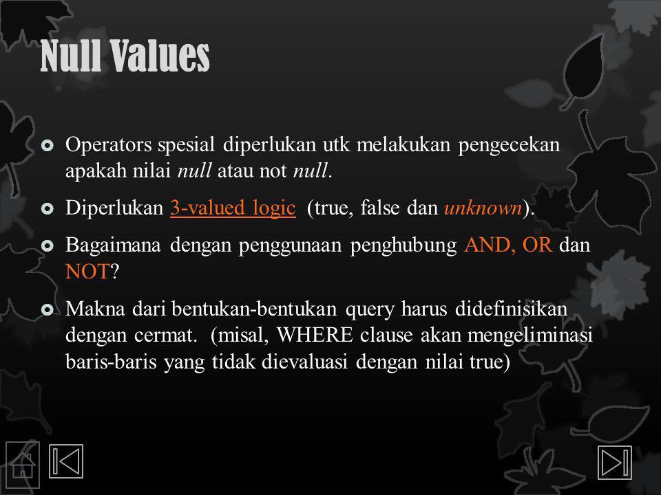 Null Values dan Operator Perbandingan serta Konjungsi AND, OR dan NOT  Perbandingan dua nilai null menggunakan operator perbandingan , , , , ,  selalu menghasilkan nilai unknown  SQL menyediakan sebuah operator perbandingan khusus IS NULL atau IS NOT NULL untuk melakukan pengujian apakah nilai dari suatu kolom adalah NULL atau NOT NULL  NOT unknown dievaluasi unknown