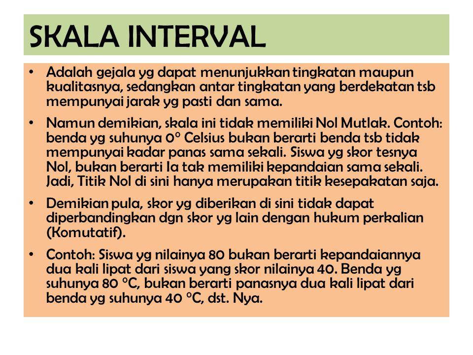 SKALA INTERVAL Adalah gejala yg dapat menunjukkan tingkatan maupun kualitasnya, sedangkan antar tingkatan yang berdekatan tsb mempunyai jarak yg pasti