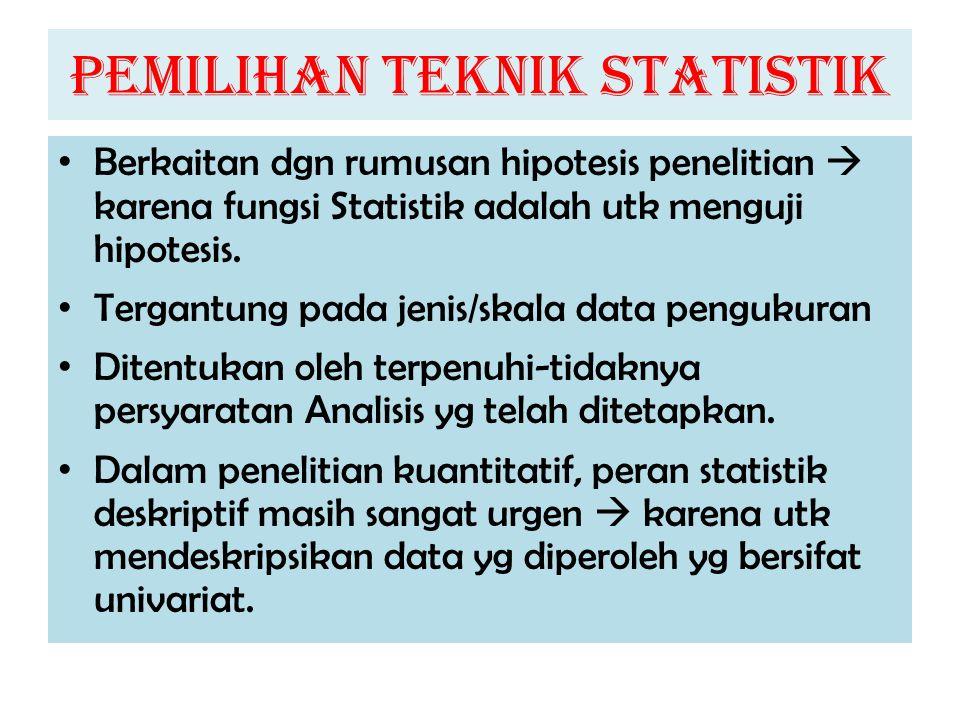 PEMILIHAN TEKNIK STATISTIK Berkaitan dgn rumusan hipotesis penelitian  karena fungsi Statistik adalah utk menguji hipotesis. Tergantung pada jenis/sk