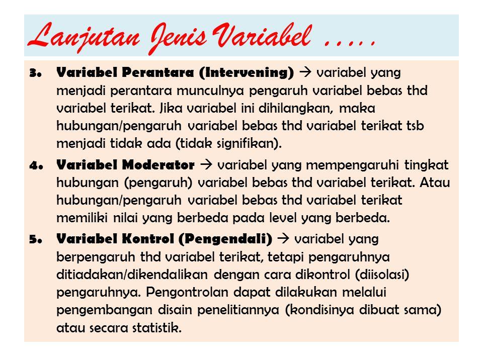 Lanjutan Jenis Variabel ….. 3. Variabel Perantara (Intervening)  variabel yang menjadi perantara munculnya pengaruh variabel bebas thd variabel terik
