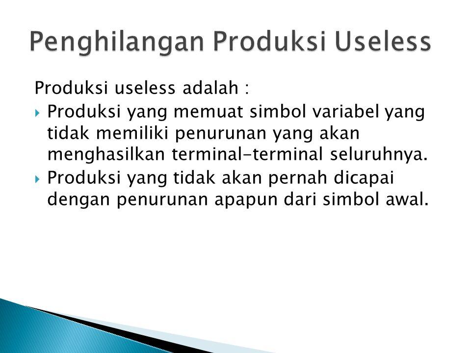Produksi useless adalah :  Produksi yang memuat simbol variabel yang tidak memiliki penurunan yang akan menghasilkan terminal-terminal seluruhnya.