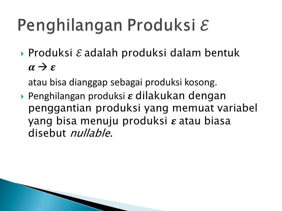  Produksi ℰ adalah produksi dalam bentuk  atau bisa dianggap sebagai produksi kosong.  Penghilangan produksi dilakukan dengan penggantian produksi
