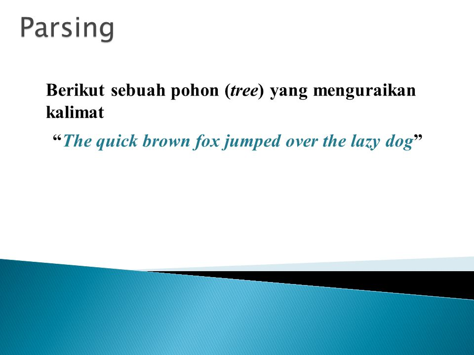 Parsing Berikut sebuah pohon (tree) yang menguraikan kalimat The quick brown fox jumped over the lazy dog