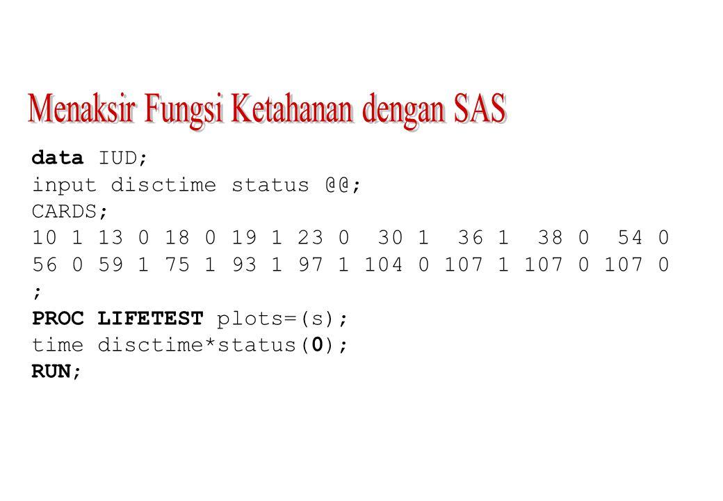 Standard Number Number disctime Survival Failure Error Failed Left 0.000 1.0000 0 0 0 18 10.000 0.9444 0.0556 0.0540 1 17 13.000*...