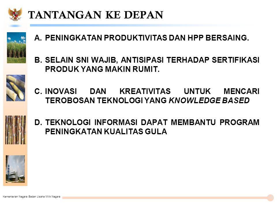 Kementerian Negara Badan Usaha Milik Negara TANTANGAN KE DEPAN A.PENINGKATAN PRODUKTIVITAS DAN HPP BERSAING.