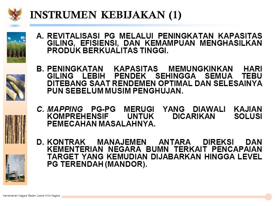 Kementerian Negara Badan Usaha Milik Negara INSTRUMEN KEBIJAKAN (1) A.REVITALISASI PG MELALUI PENINGKATAN KAPASITAS GILING, EFISIENSI, DAN KEMAMPUAN MENGHASILKAN PRODUK BERKUALITAS TINGGI.