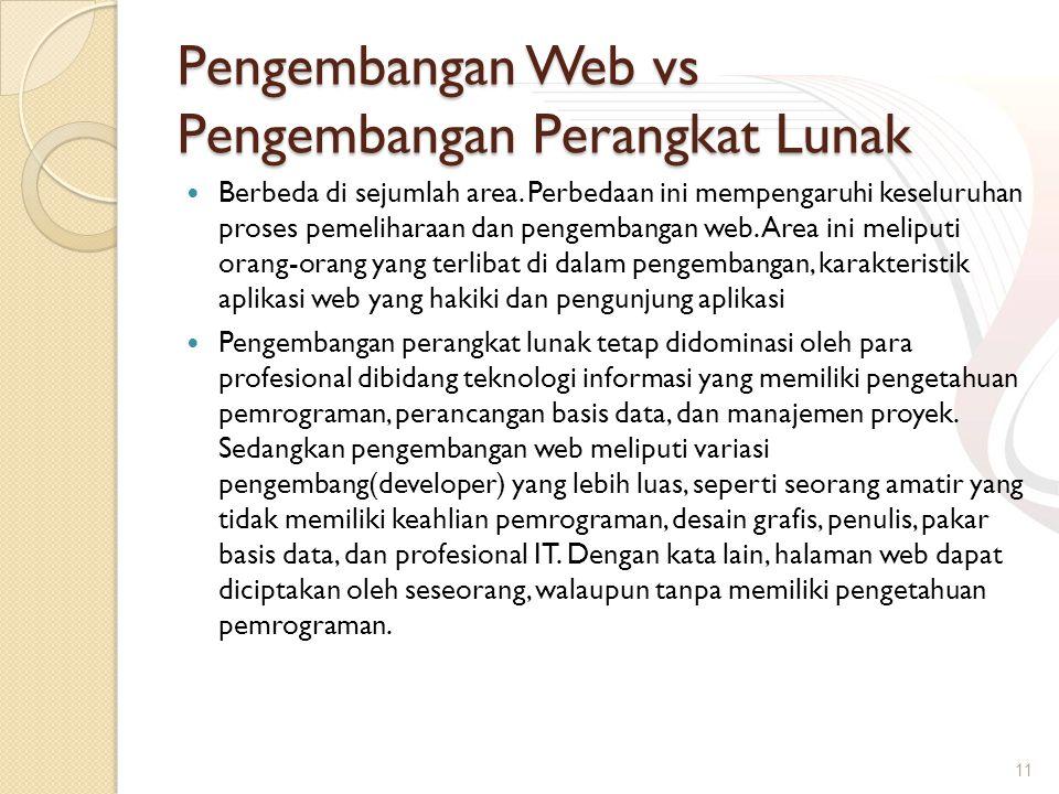 Pengembangan Web vs Pengembangan Perangkat Lunak Berbeda di sejumlah area. Perbedaan ini mempengaruhi keseluruhan proses pemeliharaan dan pengembangan