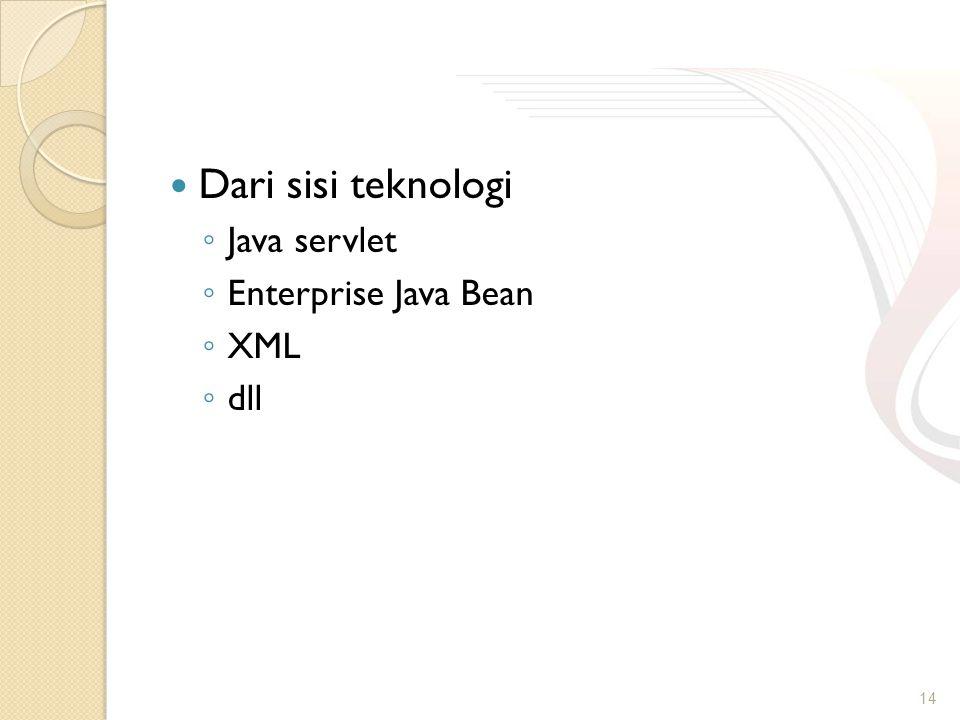 Dari sisi teknologi ◦ Java servlet ◦ Enterprise Java Bean ◦ XML ◦ dll 14