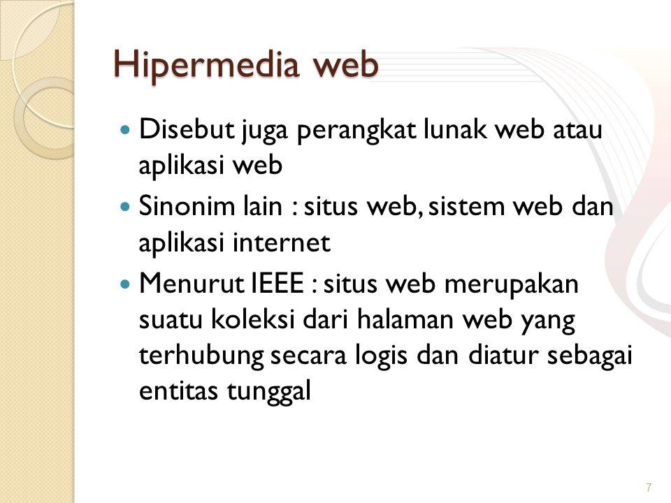 Hipermedia web Disebut juga perangkat lunak web atau aplikasi web Sinonim lain : situs web, sistem web dan aplikasi internet Menurut IEEE : situs web