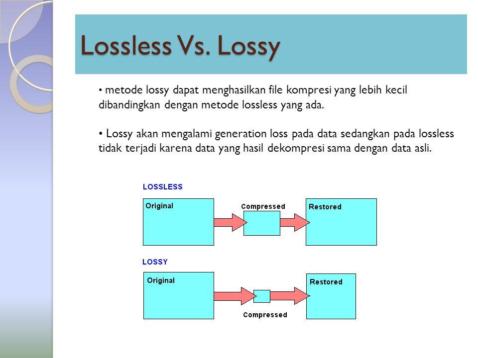 Lossless Vs. Lossy metode lossy dapat menghasilkan file kompresi yang lebih kecil dibandingkan dengan metode lossless yang ada. Lossy akan mengalami g