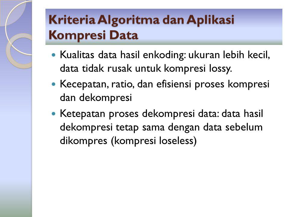 Kriteria Algoritma dan Aplikasi Kompresi Data Kualitas data hasil enkoding: ukuran lebih kecil, data tidak rusak untuk kompresi lossy. Kecepatan, rati