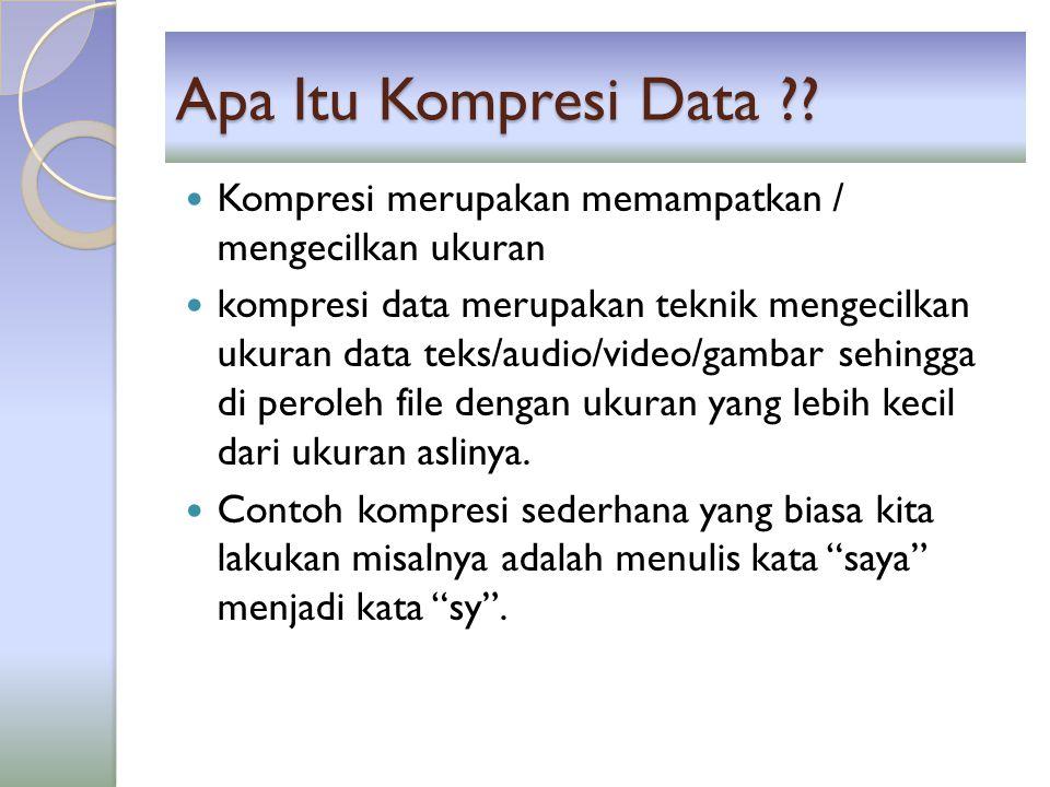 Aturan Kompresi Data Pengiriman data hasil kompresi dapat dilakukan jika pihak pengirim (yang melakukan kompresi) dan pihak penerima (yang melakukan dekompresi) memiliki aturan yang sama dalam hal kompresi data.