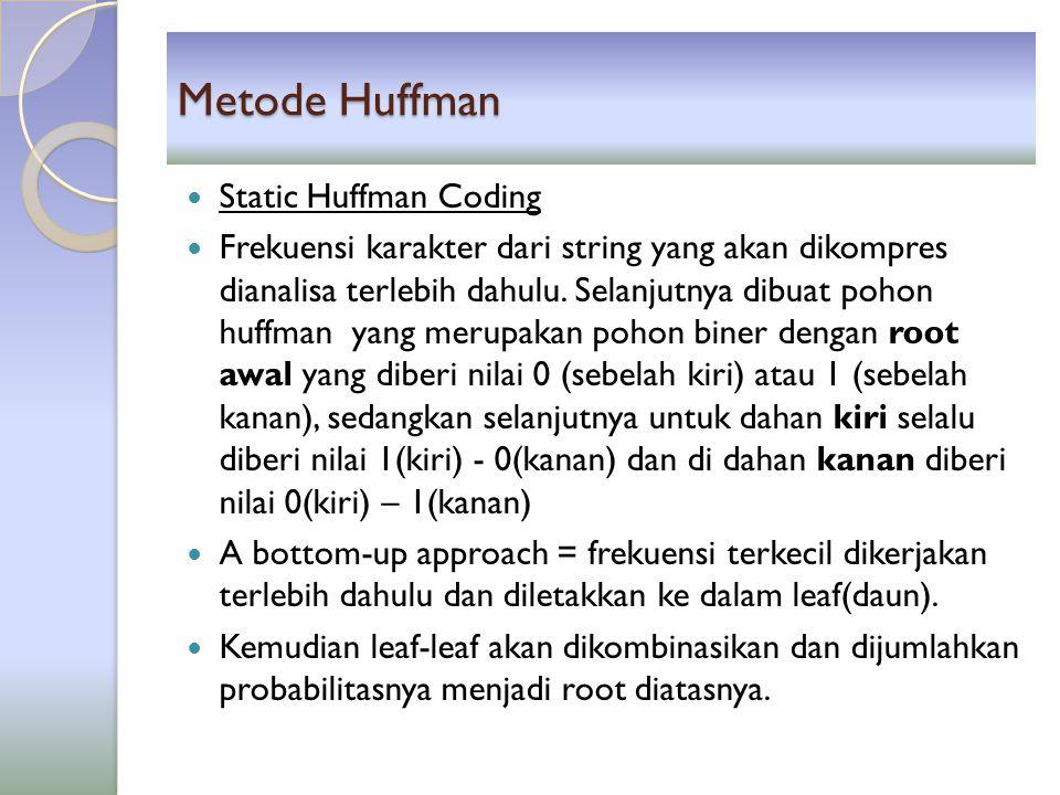 Metode Huffman Misalkan : aabaaccccddbbbbef = 17 byte Pertama-tama hitung frekuensi masing-masing data : ◦ a  4, b  5, c  4, d  2, e  1, f  1 Masing-masing data diberi kode  bit data yang sering muncul diberi kode lebih kecil dibandingkan dengan yang jarang muncul.