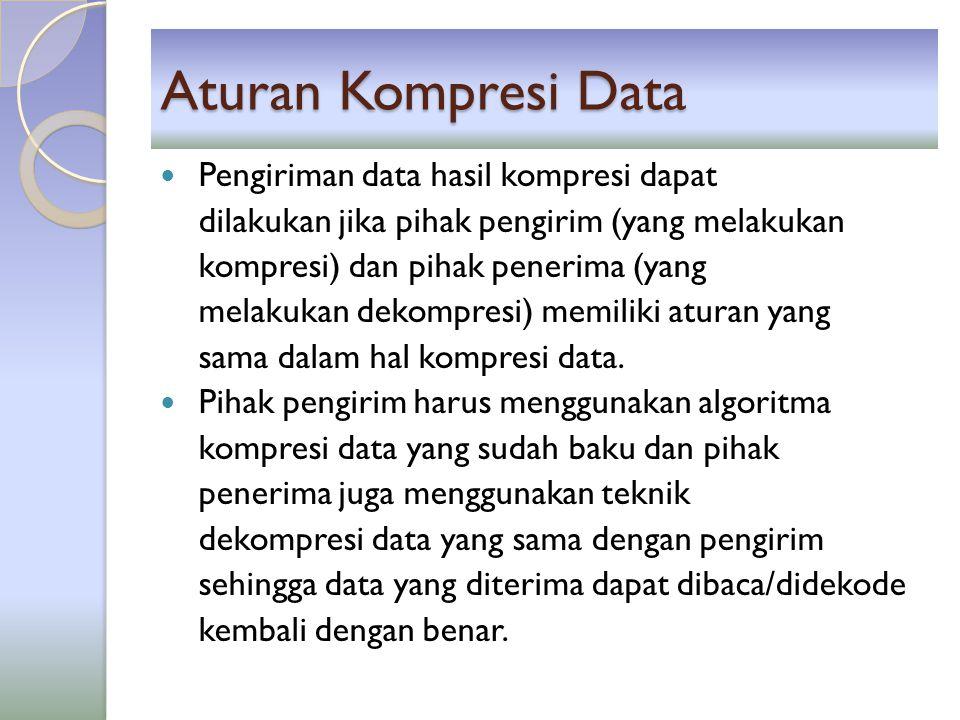 Aturan Kompresi Data Pengiriman data hasil kompresi dapat dilakukan jika pihak pengirim (yang melakukan kompresi) dan pihak penerima (yang melakukan d