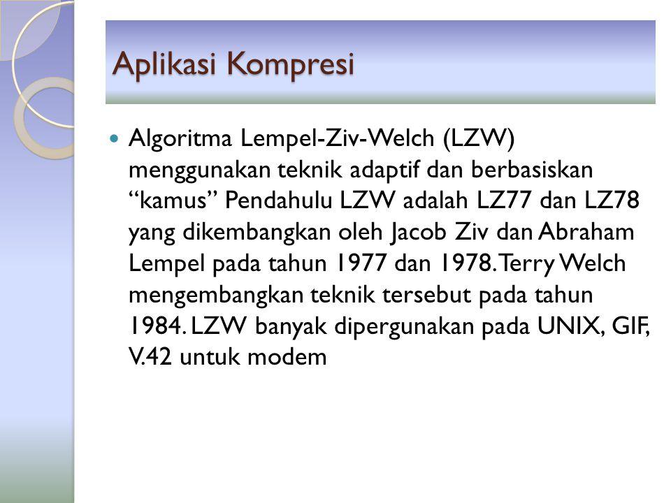 Aplikasi Kompresi ZIP File Format ◦ Ditemukan oleh Phil Katz untuk program PKZIP kemudian dikembangkan untuk WinZip, WinRAR, 7-Zip.