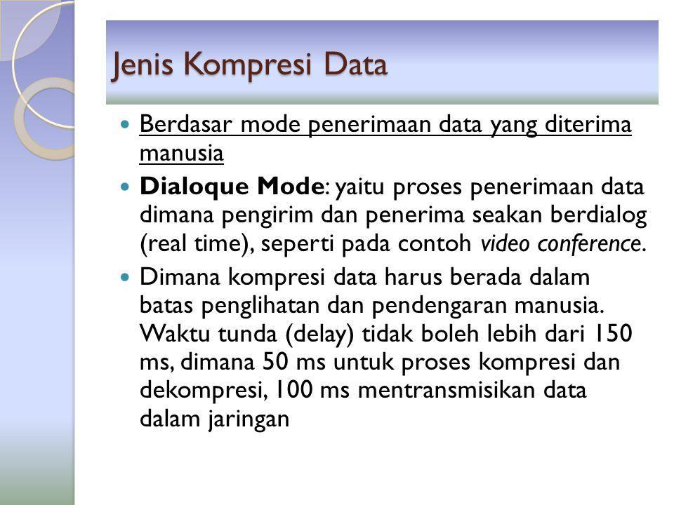 Jenis Kompresi Data Berdasar mode penerimaan data yang diterima manusia Dialoque Mode: yaitu proses penerimaan data dimana pengirim dan penerima seaka