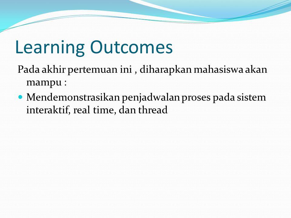 Learning Outcomes Pada akhir pertemuan ini, diharapkan mahasiswa akan mampu : Mendemonstrasikan penjadwalan proses pada sistem interaktif, real time,