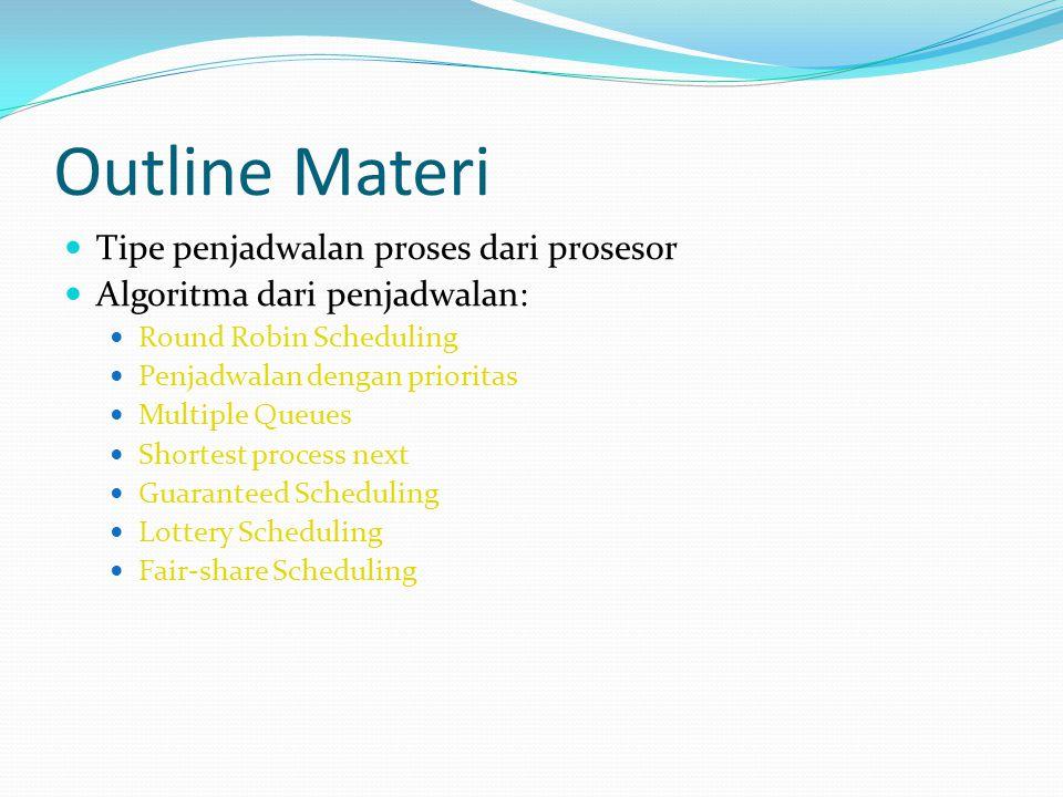 Outline Materi Tipe penjadwalan proses dari prosesor Algoritma dari penjadwalan: Round Robin Scheduling Penjadwalan dengan prioritas Multiple Queues S