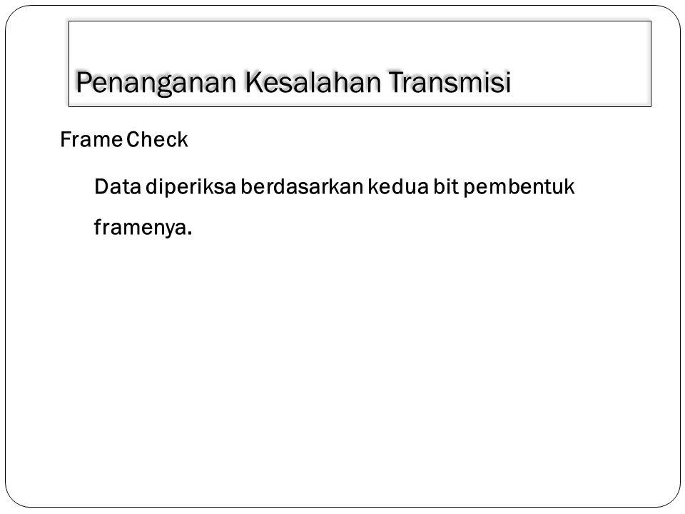 Penanganan Kesalahan Transmisi Frame Check Data diperiksa berdasarkan kedua bit pembentuk framenya.