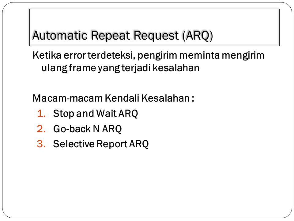 Automatic Repeat Request (ARQ) Ketika error terdeteksi, pengirim meminta mengirim ulang frame yang terjadi kesalahan Macam-macam Kendali Kesalahan : 1