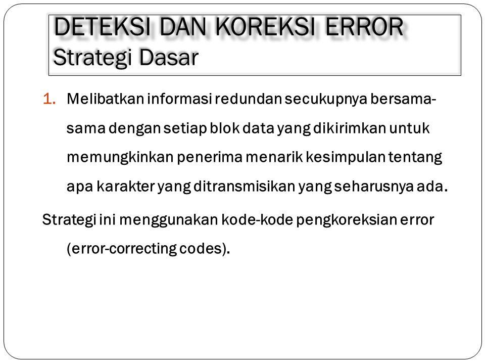 DETEKSI DAN KOREKSI ERROR DETEKSI DAN KOREKSI ERROR Strategi Dasar 1.Melibatkan informasi redundan secukupnya bersama- sama dengan setiap blok data ya