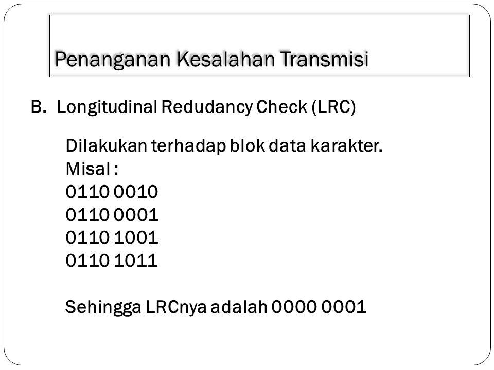 Penanganan Kesalahan Transmisi B. Longitudinal Redudancy Check (LRC) Dilakukan terhadap blok data karakter. Misal : 0110 0010 0110 0001 0110 1001 0110