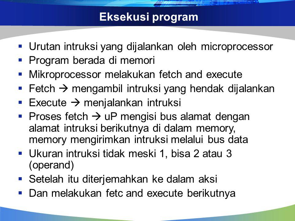 Eksekusi program  Urutan intruksi yang dijalankan oleh microprocessor  Program berada di memori  Mikroprocessor melakukan fetch and execute  Fetch