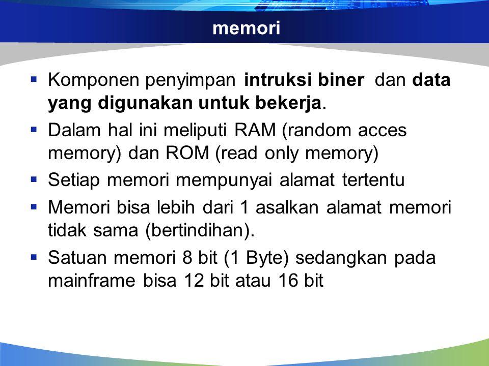 Memori static dan dinamic  Memori static  tersusun atas matriks flip-flop yang masing-masing menyimpan bit-bit biner  Memory dynamic  tersusun atas sususnan banyak kapasitor yang ada tidaknya muatan listriknya menandakan biner,  karena pada kapasitor terjadi peluruhan muatan, maka perlu direfresh pada selang waktu tertentu (misal 2 ms)