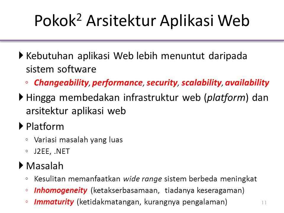 Pokok 2 Arsitektur Aplikasi Web  Kebutuhan aplikasi Web lebih menuntut daripada sistem software ◦ Changeability, performance, security, scalability,