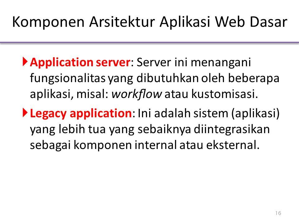 Komponen Arsitektur Aplikasi Web Dasar  Application server: Server ini menangani fungsionalitas yang dibutuhkan oleh beberapa aplikasi, misal: workflo