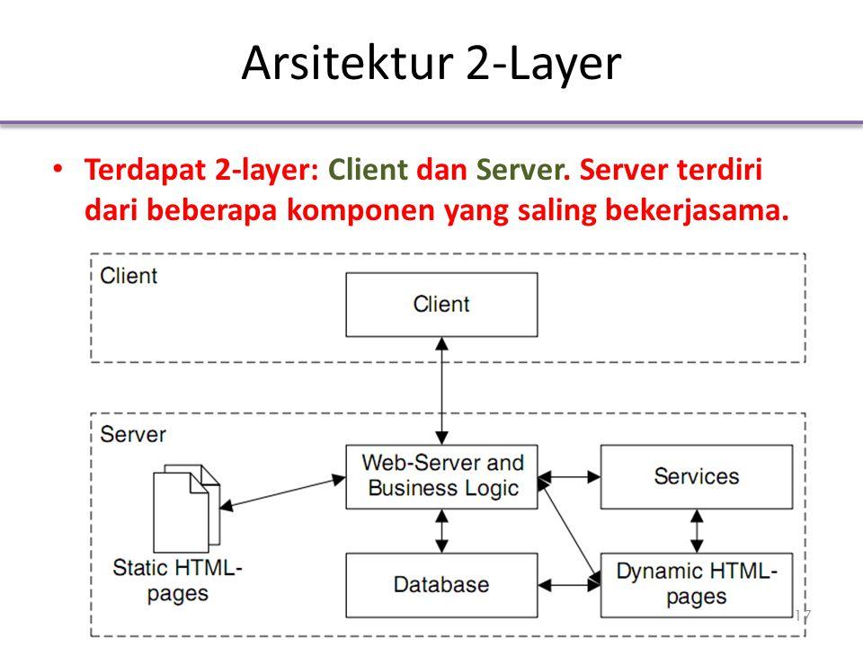 Arsitektur 2-Layer Terdapat 2-layer: Client dan Server. Server terdiri dari beberapa komponen yang saling bekerjasama. 17
