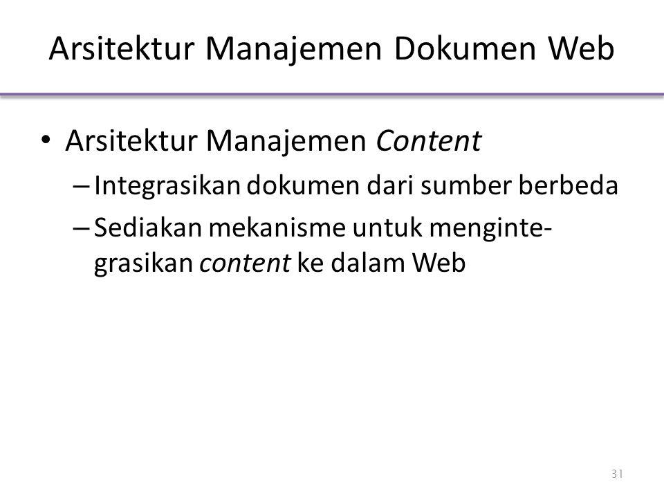 Arsitektur Manajemen Dokumen Web Arsitektur Manajemen Content – Integrasikan dokumen dari sumber berbeda – Sediakan mekanisme untuk menginte- grasikan