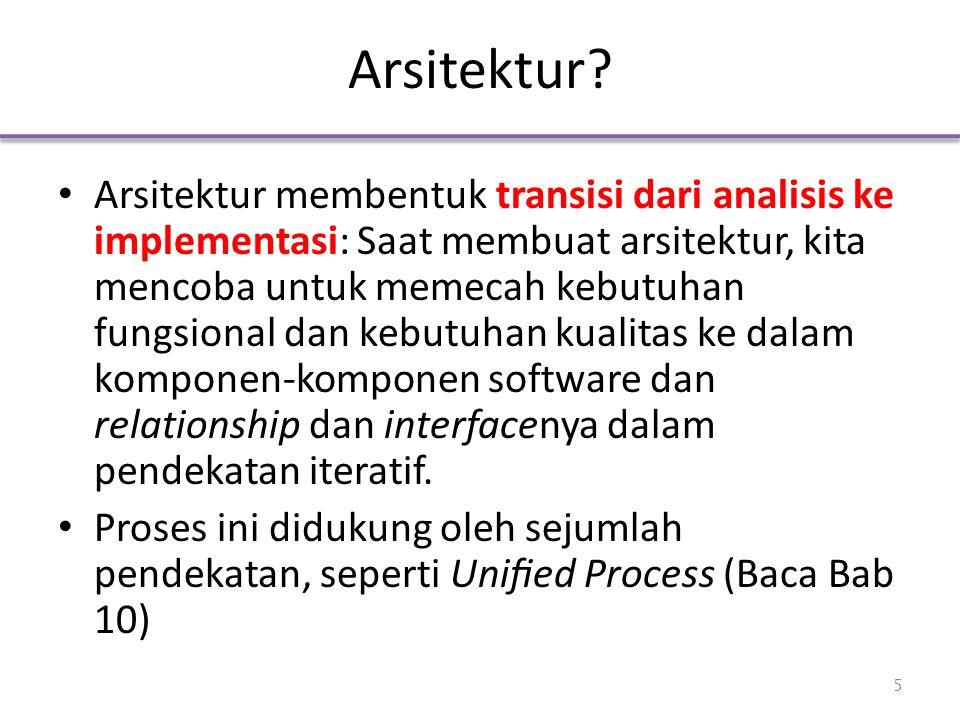 Arsitektur? Arsitektur membentuk transisi dari analisis ke implementasi: Saat membuat arsitektur, kita mencoba untuk memecah kebutuhan fungsional dan