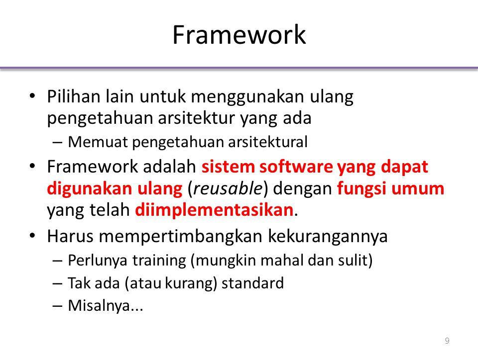 Framework Pilihan lain untuk menggunakan ulang pengetahuan arsitektur yang ada – Memuat pengetahuan arsitektural Framework adalah sistem software yang