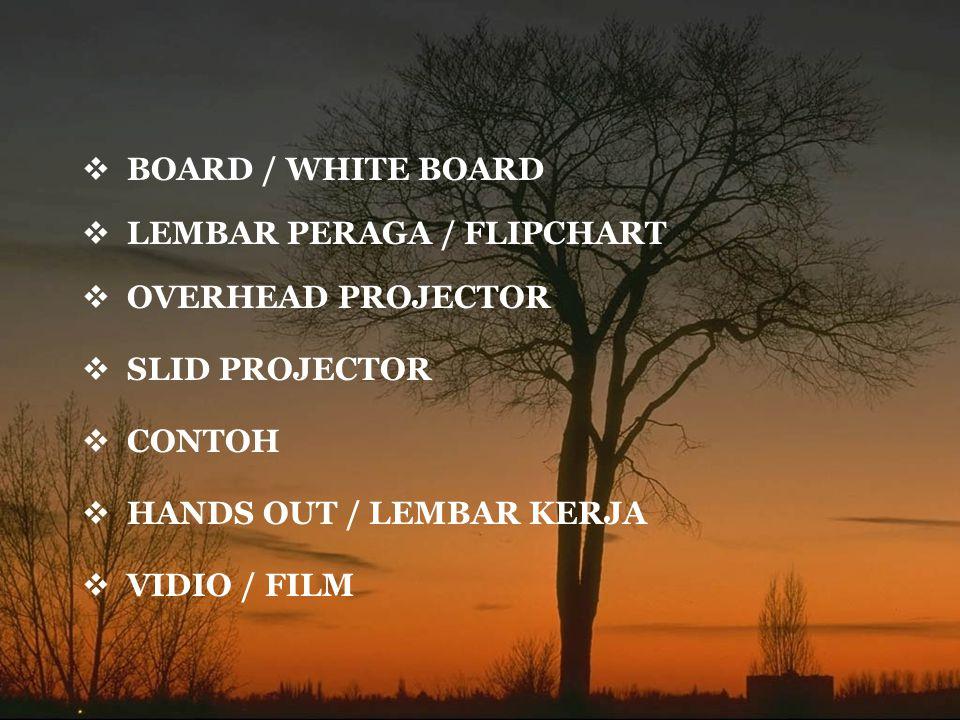  BOARD / WHITE BOARD  LEMBAR PERAGA / FLIPCHART  SLID PROJECTOR  OVERHEAD PROJECTOR  CONTOH  HANDS OUT / LEMBAR KERJA  VIDIO / FILM