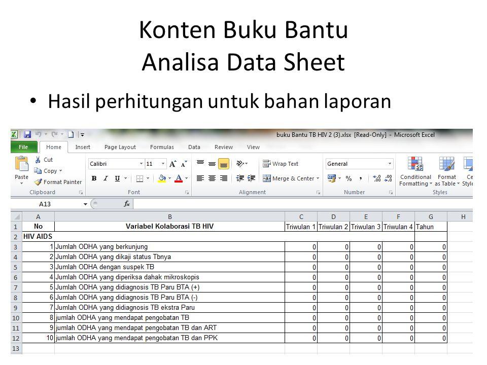 Konten Buku Bantu Analisa Data Sheet Hasil perhitungan untuk bahan laporan