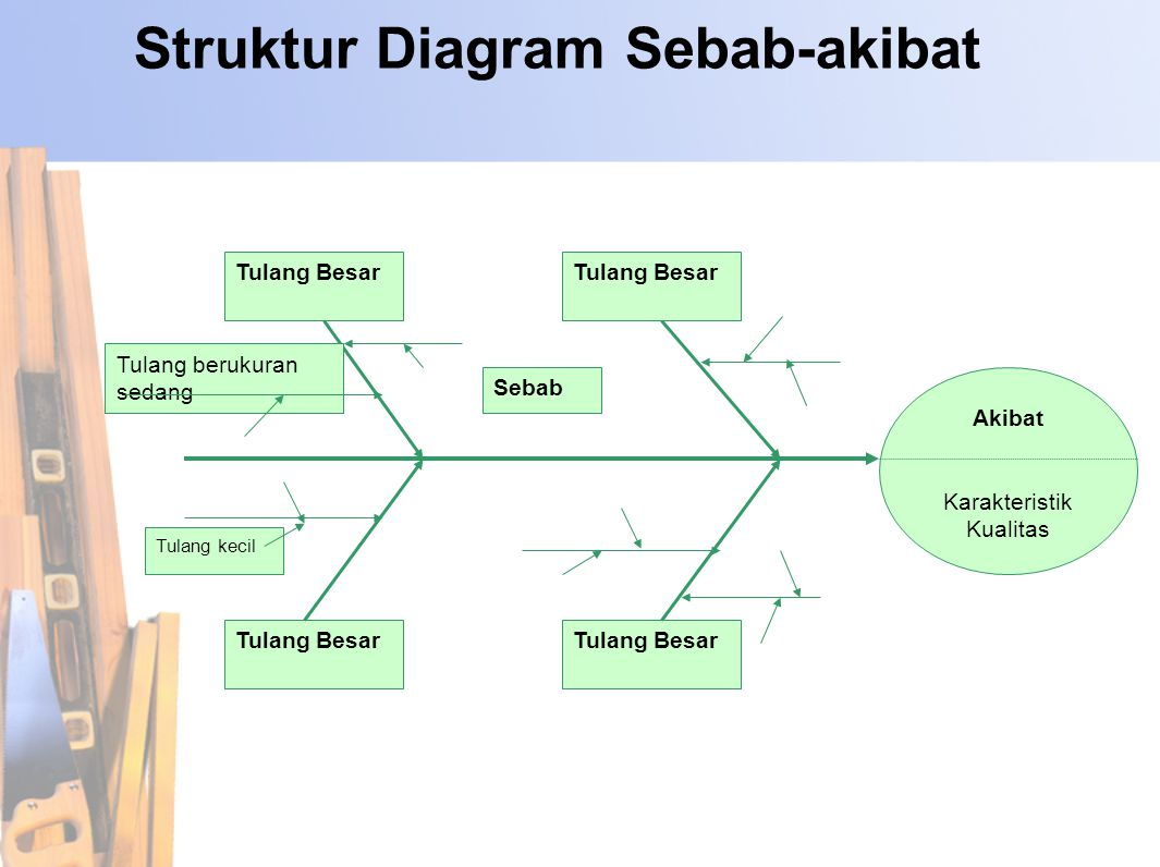 Struktur Diagram Sebab-akibat Tulang Besar Akibat Karakteristik Kualitas Tulang berukuran sedang Tulang kecil Sebab