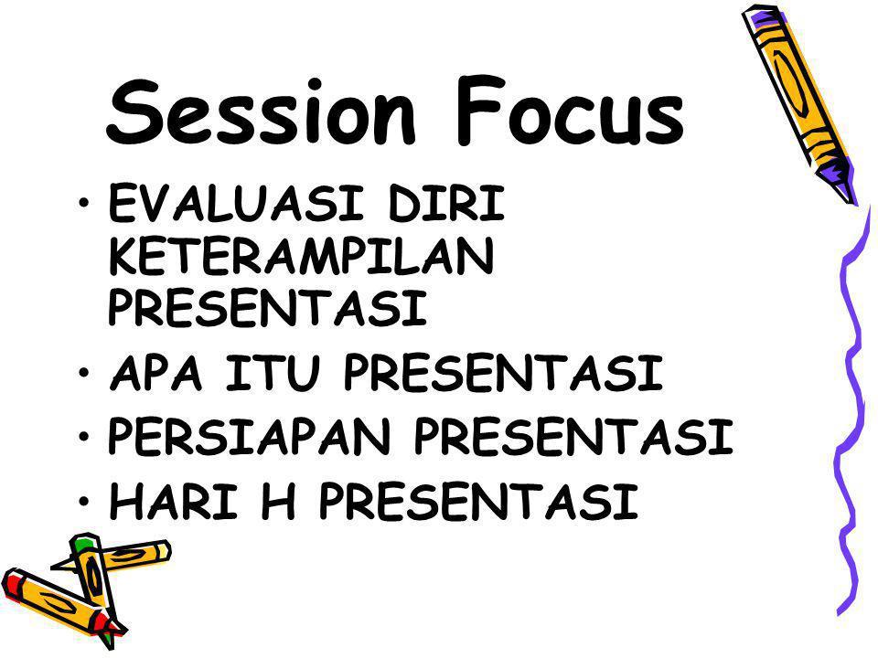 Session Focus EVALUASI DIRI KETERAMPILAN PRESENTASI APA ITU PRESENTASI PERSIAPAN PRESENTASI HARI H PRESENTASI