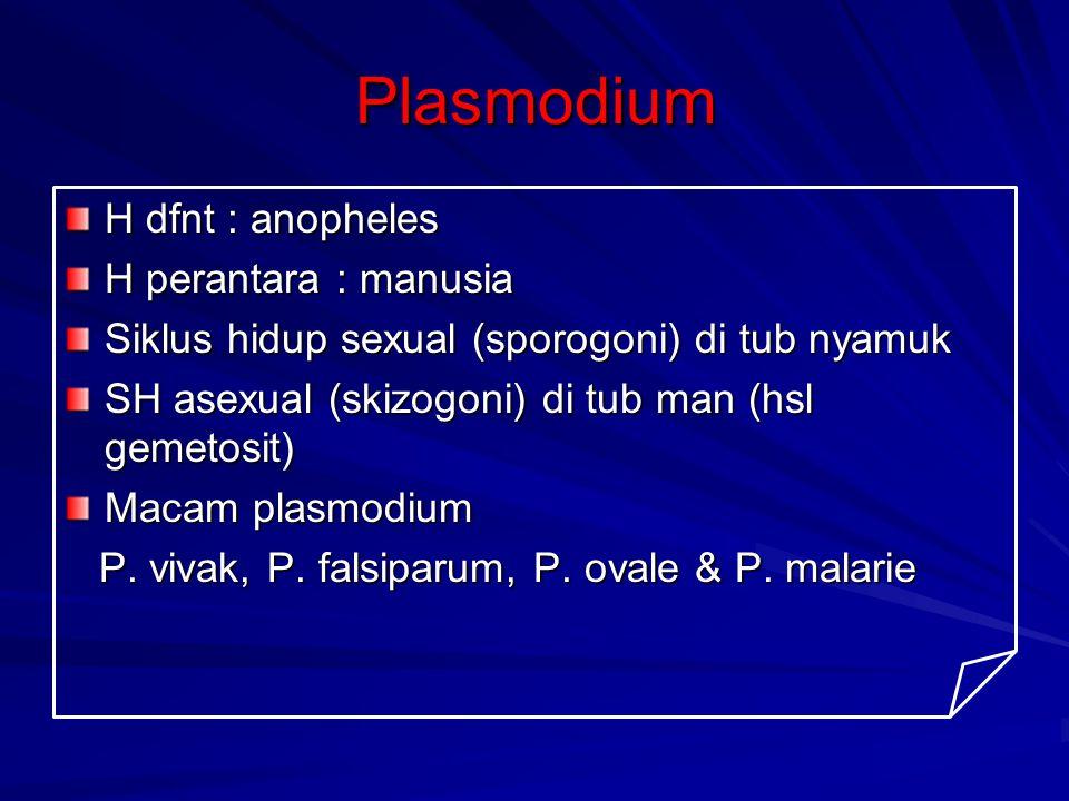 Plasmodium H dfnt : anopheles H perantara : manusia Siklus hidup sexual (sporogoni) di tub nyamuk SH asexual (skizogoni) di tub man (hsl gemetosit) Ma