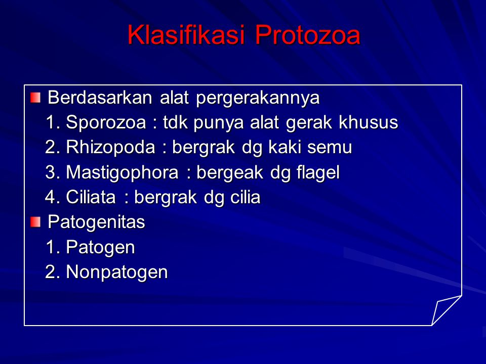 Klasifikasi Protozoa Berdasarkan alat pergerakannya 1. Sporozoa : tdk punya alat gerak khusus 1. Sporozoa : tdk punya alat gerak khusus 2. Rhizopoda :