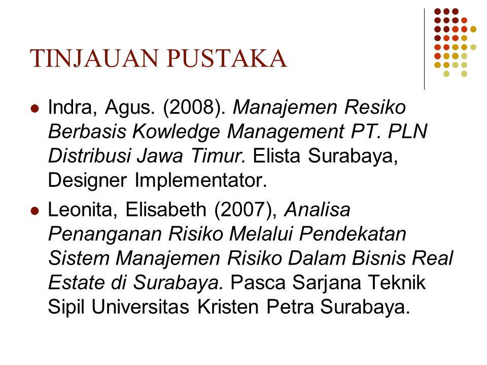 TINJAUAN PUSTAKA Indra, Agus. (2008). Manajemen Resiko Berbasis Kowledge Management PT. PLN Distribusi Jawa Timur. Elista Surabaya, Designer Implement