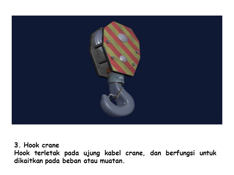 3. Hook crane Hook terletak pada ujung kabel crane, dan berfungsi untuk dikaitkan pada beban atau muatan.