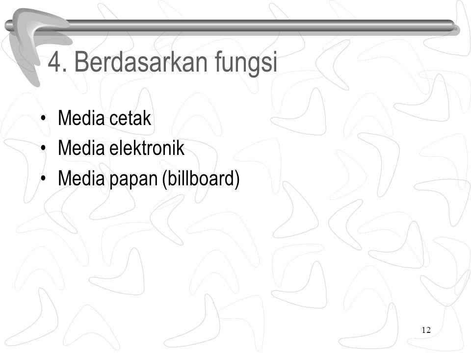 4. Berdasarkan fungsi Media cetak Media elektronik Media papan (billboard) 12