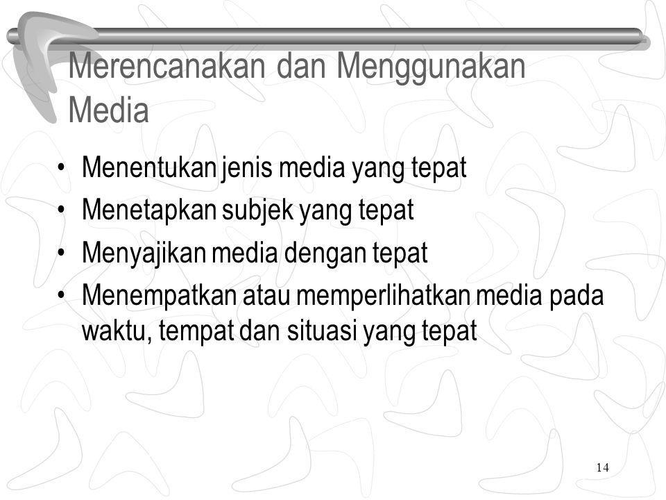 14 Merencanakan dan Menggunakan Media Menentukan jenis media yang tepat Menetapkan subjek yang tepat Menyajikan media dengan tepat Menempatkan atau memperlihatkan media pada waktu, tempat dan situasi yang tepat