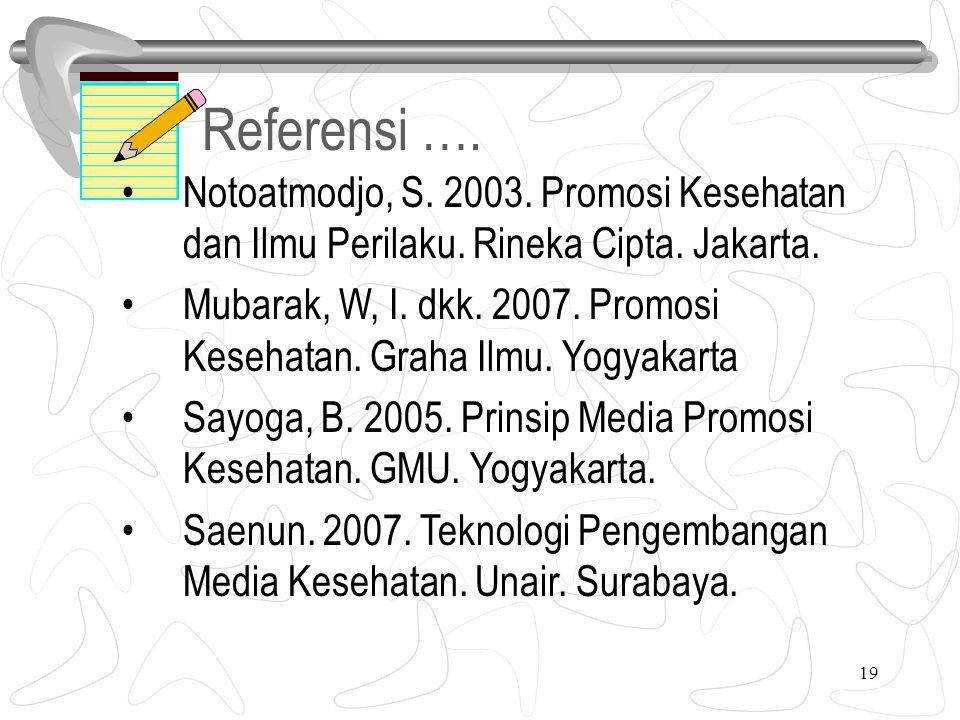 19 Referensi ….6. Notoatmodjo, S. 2003. Promosi Kesehatan dan Ilmu Perilaku.